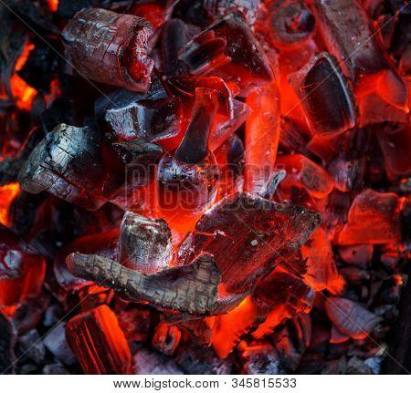 Burning Coal. Glowing Embers Smoldering. Fire Place With Glowing Coal. Live Coal Burning. Background