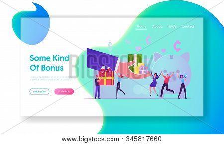 Bonus Card, Loyalty Program, Earn Reward, Redeem Gift, Perks Website Landing Page. Huge Hand Giving