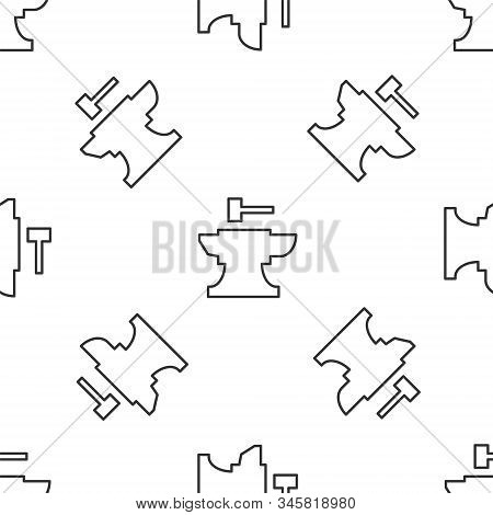 Grey Line Anvil For Blacksmithing And Hammer Icon Isolated Seamless Pattern On White Background. Met