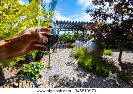 Hand Holding A Glass Of Red Wine Selective Focus View, Outdoor Wine Tasting, Wineries And Vineyards