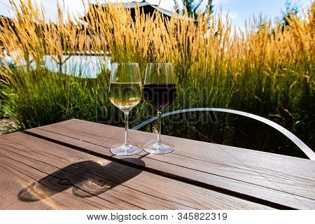 Pair Of Different Wine Glasses, White Wine Glass And Red Wine Glass On Wooden Table With Pampas Gras