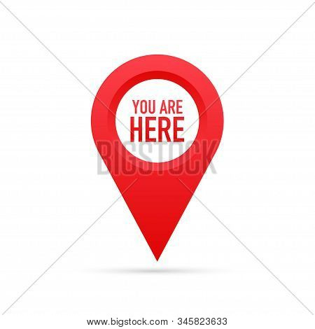 Red You Are Here Location Pointer Pin. Vector Stock Illustration.
