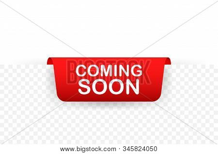 Red Ribbon Coming Soon. Promotion Banner Coming Soon. Vector Stock Illustration