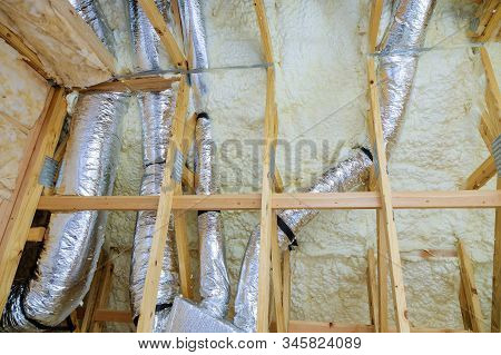 Thermal Insulation A New House Under The Roof Of Air Conditioner Vents In New Home Construction On T