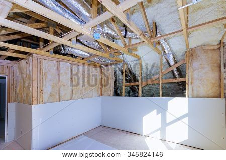 Gypsum Board Wall And Ceiling Interior Roof Room Home At Construction Foam Plastic Insulation Of A N