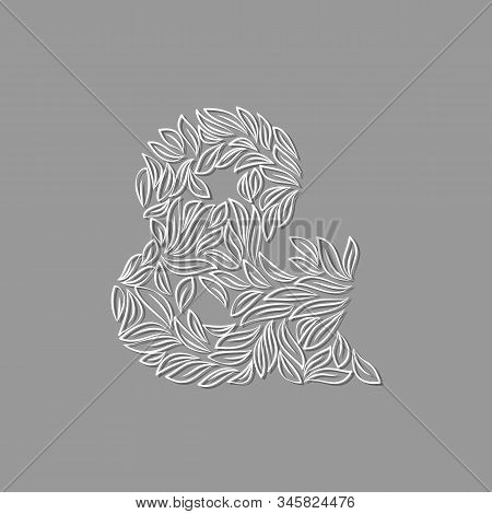 Ornamental Paper Ampersand Isolated On Gray Background. Laser Cut Template. Vector Illustration