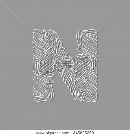 Ornamental Paper Letter N Isolated On Gray Background. Laser Cut Template. Vector Illustration