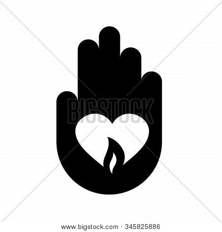Hand Symbol With Heart And Flame Fire Illustration. Concept Of Love, Grief, Sadness