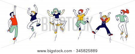 Happy Kids Stand In Row Dancing And Jumping Isolated On White Background. Little Children Rejoice On