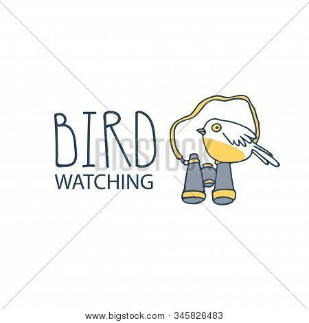 Birdwatching And Ornithology Concept. Bird Watching Icon, Logo, Emblem. Birding Vector Illustration