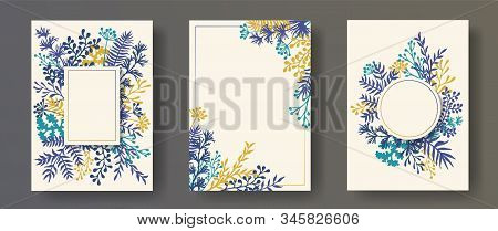 Hand Drawn Herb Twigs, Tree Branches, Flowers Floral Invitation Cards Set. Herbal Corners Vintage Ca