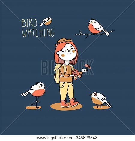 Birding And Ornithology Concept. Woman Birdwatching. Young Girl Bird Watching With Binoculars And Fe