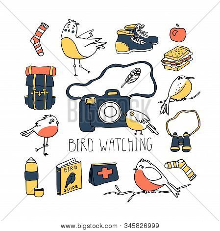 Birdwatching And Ornithology Concept. Bird Watching Icons, Elements. Vector Illustration With Birdwa