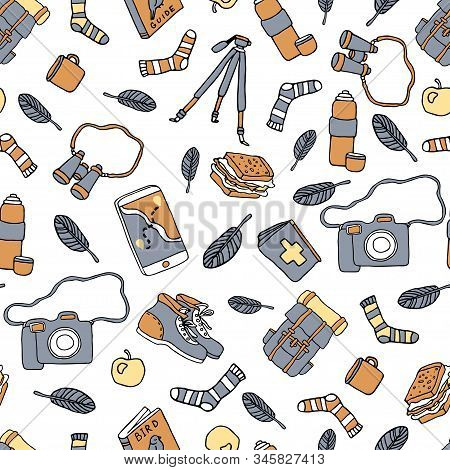 Birdwatching And Ornithology Concept. Bird Watching Seamless Pattern. Vector Illustration With Birdw