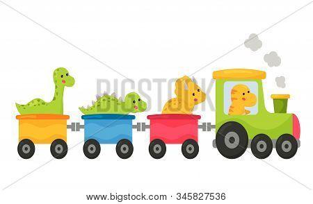 Vector Cartoon Dinosaurs In The Train. Kawaii Dino: Triceratops, T-rex, Brachiosaurus And Stegosauru