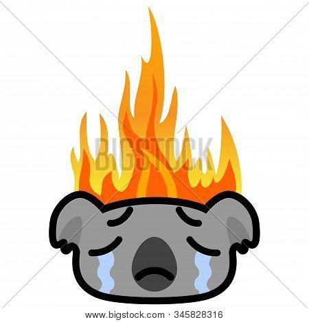 Weeping Koala Icon On Fire Background. Cartoon Vector Illustration