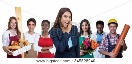 Beautiful Latin American Business Trainee With Group Of International Apprentices Isolated On White