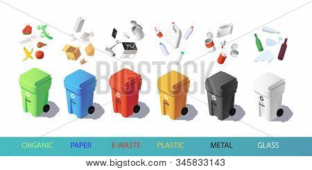 Colorful Recycle Trash Bins With Garbage Icons, Isometric Vector Set. Waste Management Concept. Sort