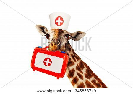 Happy Doctor Giraffe Hold Medical Kit In Mouse Mixed Media Illustration, Isolated On White