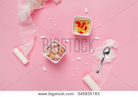 Medication Drugs And Pills Overuse And Abuse Concept Flat Lay Top View