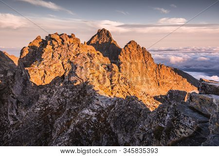 Mountains Landscape With Inversion In The Valley At Sunset As Seen From Rysy Peak In High Tatras, Sl