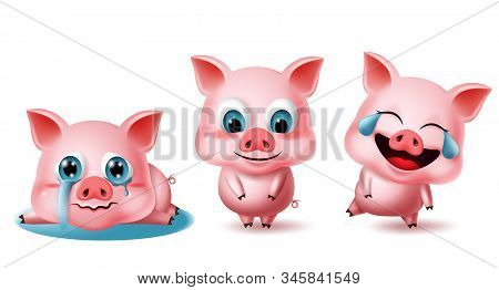 Pigs Character Vector Set. Pig Animal Characters 3d Elements In Different Pose And Expressions Like