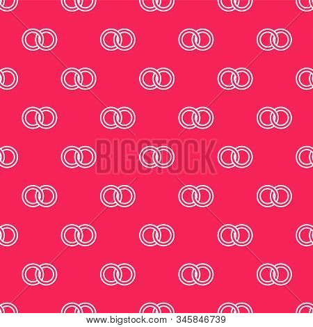 White Line Wedding Rings Icon Isolated Seamless Pattern On Red Background. Bride And Groom Jewelery