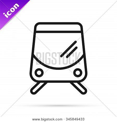 Black Line Tram And Railway Icon Isolated On White Background. Public Transportation Symbol. Vector