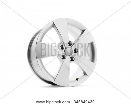 Car alloy wheel on white background, including clipping path