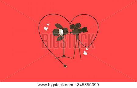 Love Movie Heart Cinema Film Creative Simplelogo Template Vector Illustration