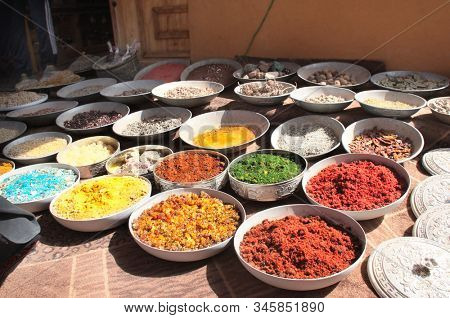 Frankincense, incense, aromatic herbs and spices on street market in Petra (Red Rose City), Jordan