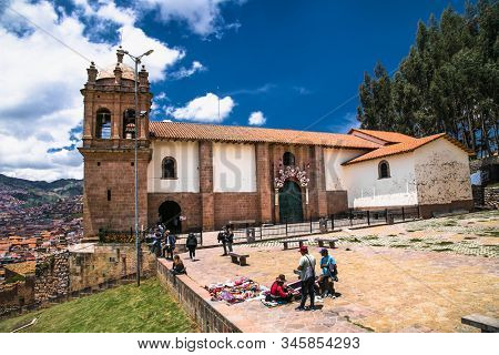 Cusco , Peru- Jan 9, 2019: Church of the San Cristobal  with panoramic view on Cusco city, Peru.