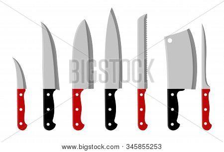 Kitchen Knifes Cartoon Vector. Knife Set On White Background Illustration, Stainless Steel Restauran