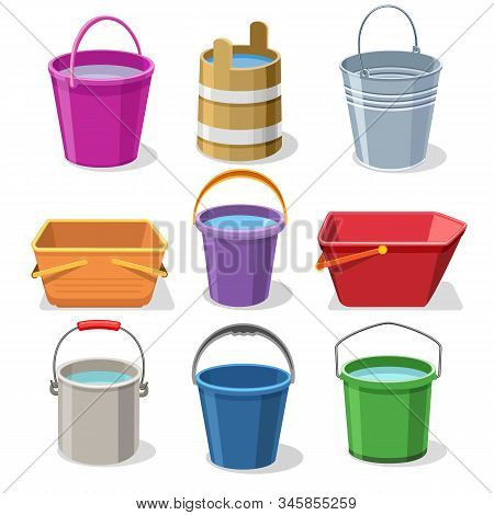 Buckets And Pails. Steel And Plastic Bucket Set For Gardening, Pail For Kids, Metal Container For Wa