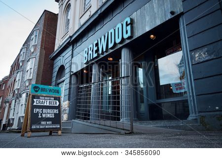 READING, UK - JANUARY 17, 2020: A branch of BrewDog, a multinational craft beer brewing and pub chain, in Reading, Berkshire, UK.