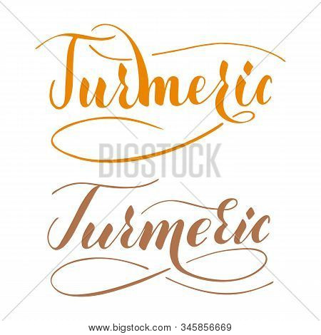Vector Hand Written Turmeric Text Isolated On White Background. Kitchen Healthy Herbs And For Cookin