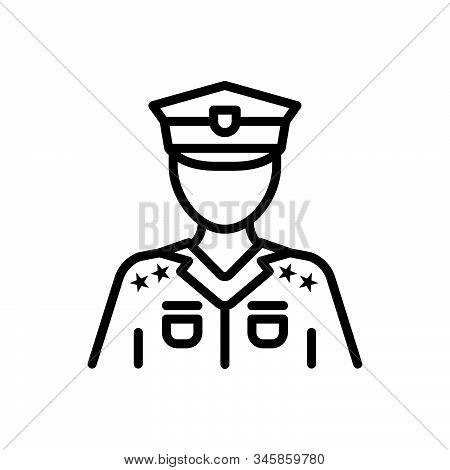 Black Line Icon For Police Police-force Constabulary Person Law Guard
