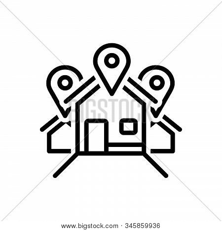 Black Line Icon For Address Location Locale Place Resident Inhabitant House