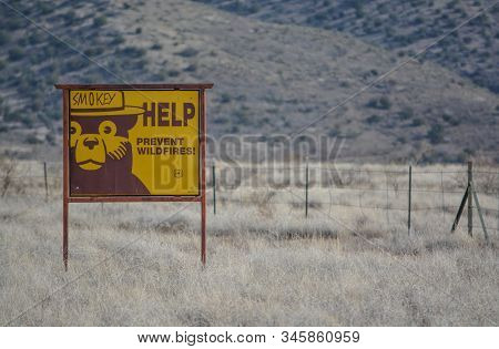 Help Smokey The Bear Prevent Wildfires, Sign. At Camp Verde, Sonoran Desert, Coconino National Fores