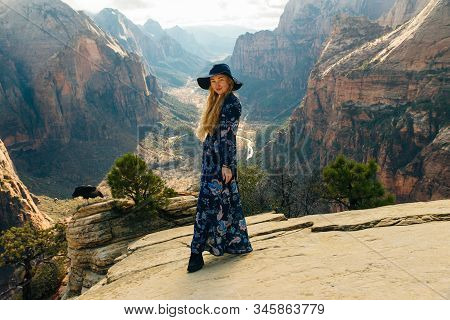 Girl Traveller On Zion National Park In Southwestern Utah Near The Town Of Springdale, Usa