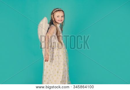 Child Wearing Long White Dress And Angel Wings. Happy Little Angel. Saint Valentines Day Card. Cheru