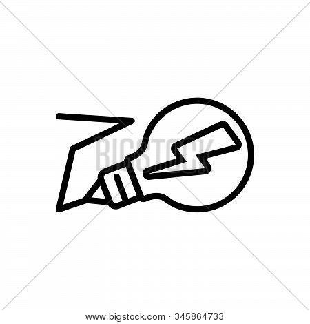 Black Line Icon For Electricity Lightning Volt Bulb Technology