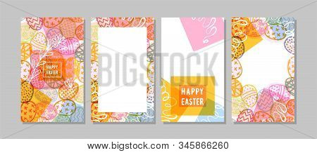Set Of Beautiful Vertical Easter Patterns For Social Networks. Colorful Easter Cards With Eggs And P