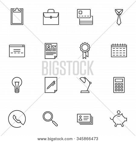 Business Line Icons Set. Linear Style Symbols Collection, Outline Signs Pack. Vector Graphics. Set I