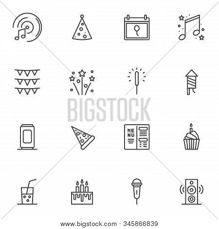 Party Event Decorations Line Icons Set. Linear Style Symbols Collection Outline Signs Pack. Vector G