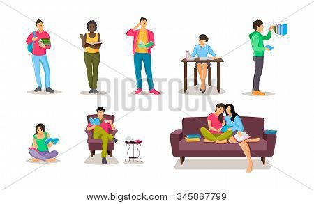 People Reading In Bookshop, Library Set Vector