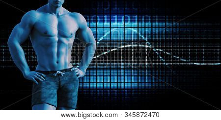 Athletic Training Data with Fit Man Excersing 3d Render