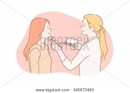 Beauty, Makeup, Stylist Concept. Young Woman Prepares For Date And Wants To Look Beautiful. Professi