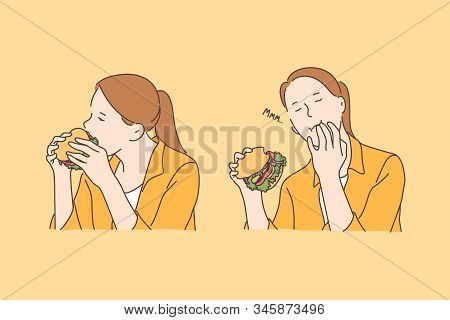 Fastfood, Addiction, Nutrition Set Concept. Young Happy Woman Enjoys Hamburger And Addicted To Fastf