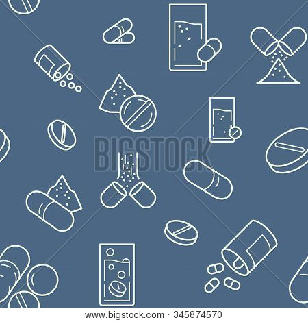 Seamless Medical Treatment Pattern. Medicine Dosage Icons Pattern Background. Vector Graphics